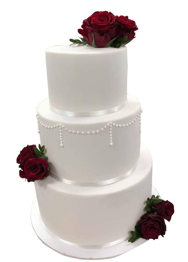 Cake Creations by Kate™ CustomCakes 3-tier Classic Red and White Fondant Custom Cake