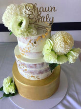 3-tier Gold Semi-Naked Floral Custom Cake
