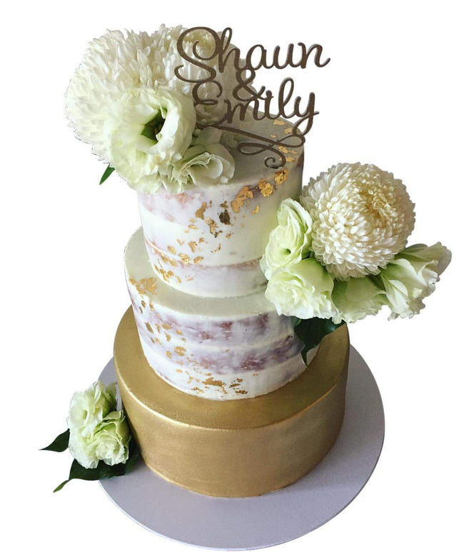 Cake Creations by Kate™ CustomCakes 3-tier Gold Semi-Naked Floral Custom Cake