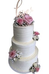 3-tier LOVE Buttercream Floral Custom Cake