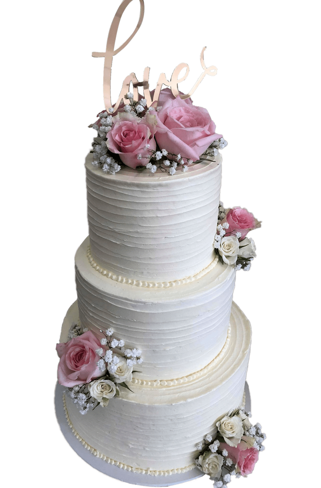 Cake Creations by Kate™ CustomCakes 3-tier LOVE Buttercream Floral Custom Cake