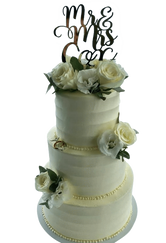3-tier Mr & Mrs Smooth Spatula Buttercream Floral Custom Cake