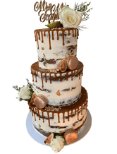 3-tier Semi-Naked Buttercream with Caramel Drip Floral Custom Cake
