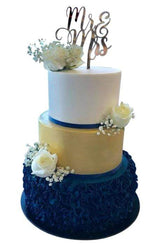 3-tier White, Gold and Blue Custom Cake