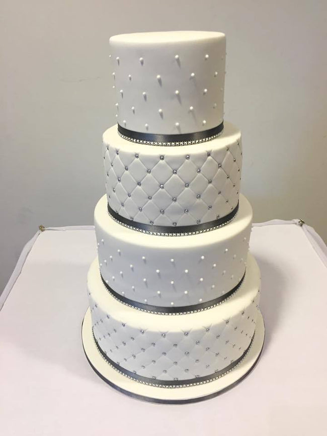 Cake Creations by Kate™ CustomCakes 4-tier All-White Quilted Fondant Custom Cake