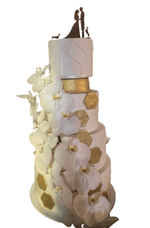 4-tier White Fondant with Gold Hexagonal Accents Custom Cake