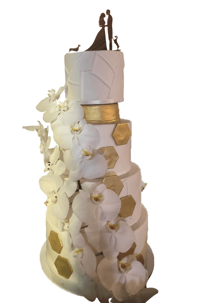 Cake Creations by Kate™ CustomCakes 4-tier White Fondant with Gold Hexagonal Accents Custom Cake