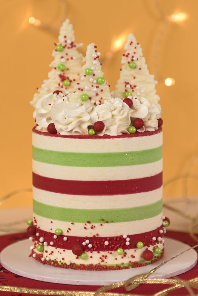 Stripe and Tree Christmas Themed Cake