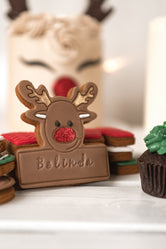 Personalised Name Reindeer Christmas Biscuit