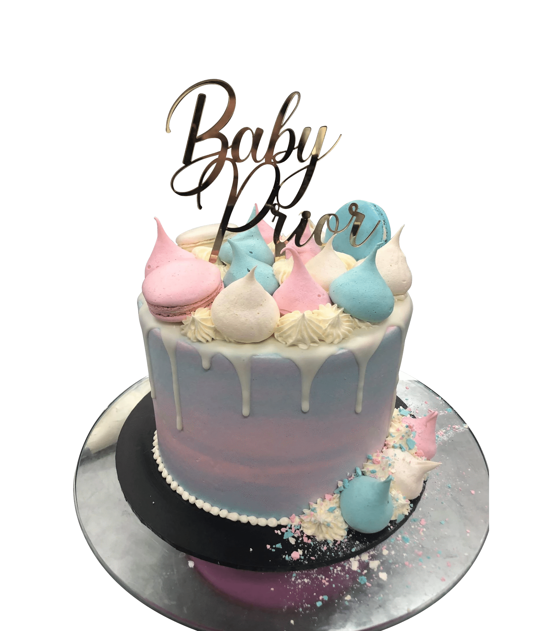 Baby Blue And Pink Meringue Kisses Watercolour Buttercream Speciality Cake Creations By Kate