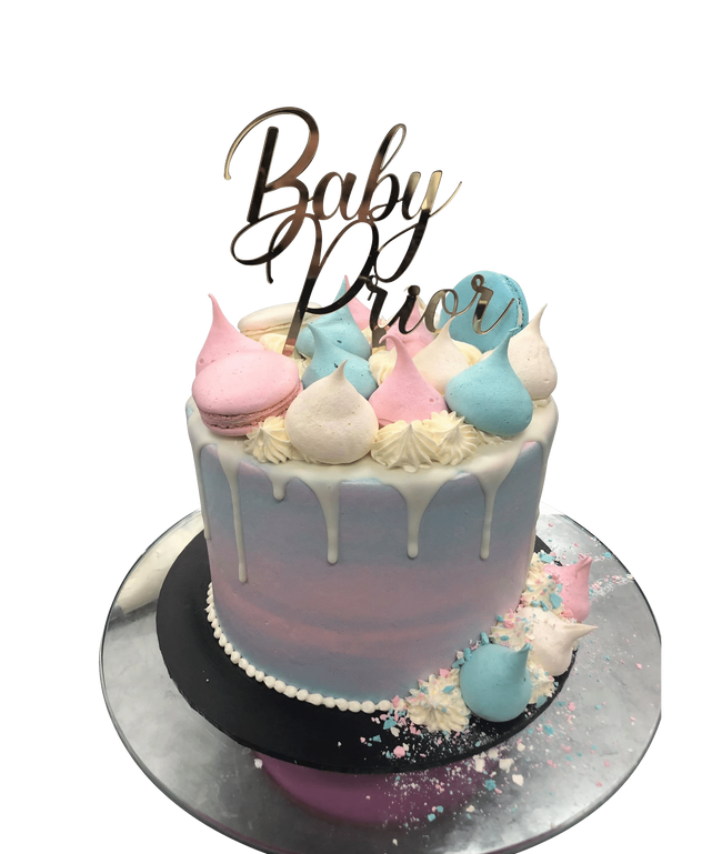 Cake Creations by Kate™ SpecialityCakes Baby Blue and Pink Meringue Kisses Watercolour Buttercream Speciality Cake