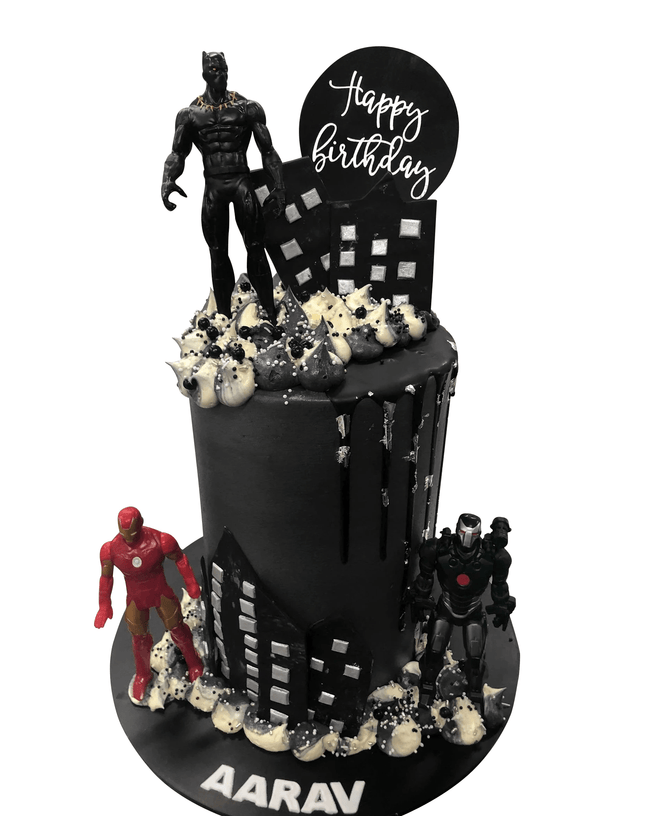 Cake Creations by Kate™ SpecialityCakes Black and Silver Cityscape Smooth Buttercream Double-Height Speciality Cake