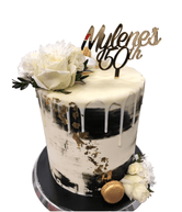 Black and White Watercolour Buttercream Floral Double Height Speciality Cake