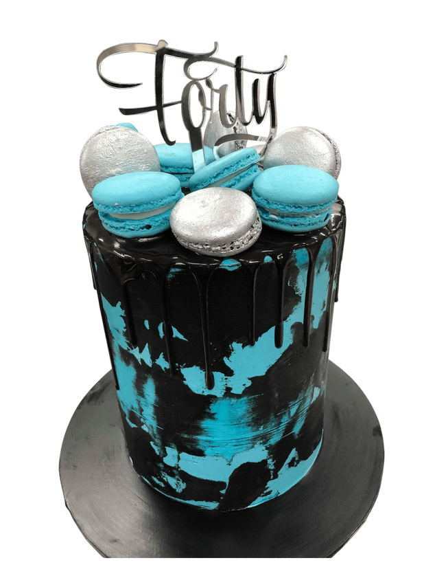 Cake Creations by Kate™ SpecialityCakes Blue and Black Watercolour Buttercream Double-Height Speciality Cake