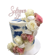 Blue and Pink Floral Sash Watercolour Double-Height Speciality Cake
