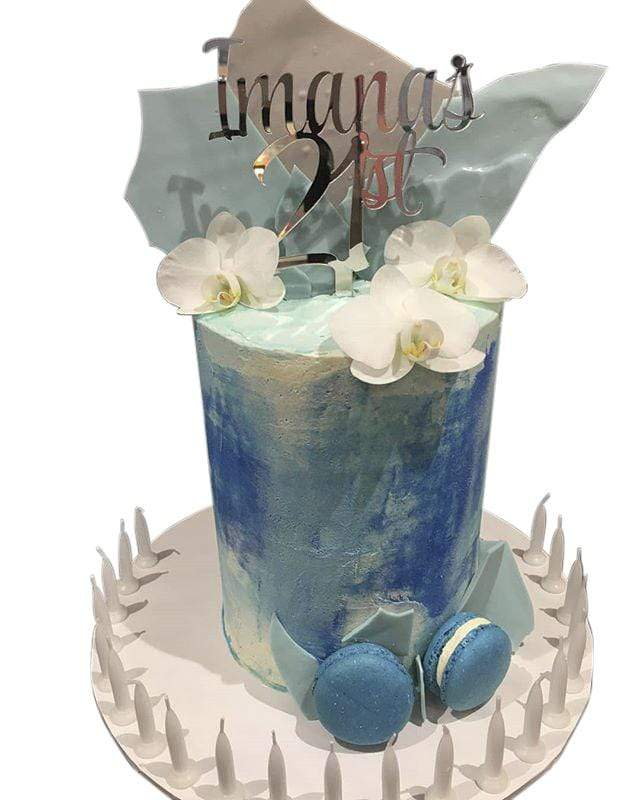 Cake Creations by Kate™ SpecialityCakes Blue and White Watercolour Buttercream Double Height Speciality Cake