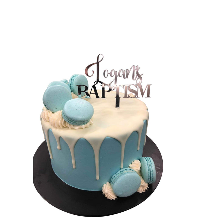 Cake Creations by Kate™ SpecialityCakes Blue Macarons and White Drip Smooth Buttercream Speciality Cake