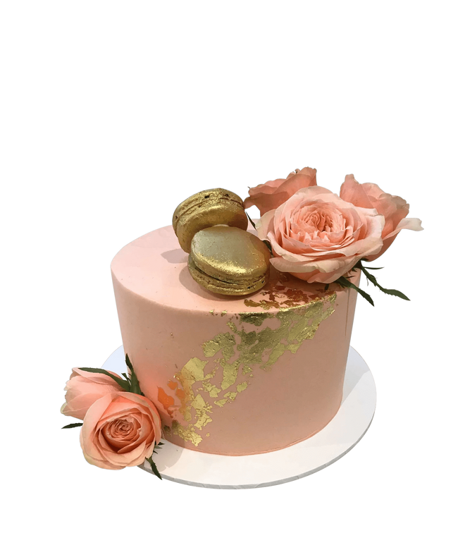 Cake Creations by Kate™ SpecialityCakes Blush Pink and Gold Smooth Buttercream Floral Speciality Cake