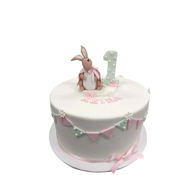Cake Creations by Kate™ SpecialityCakes Brown Bunny Rabbit White and Pink Fondant Speciality Cake