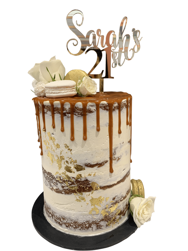 Cake Creations by Kate™ SpecialityCakes Caramel Drip and Macarons Floral Semi-Naked Double-Height Speciality Cake
