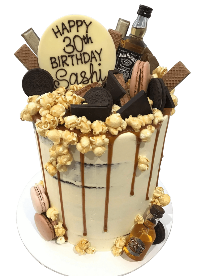 Cake Creations by Kate™ SpecialityCakes Chocolates, Cookies, Popcorn and Caramel Explosion Semi-Naked Buttercream Double Height Speciality Cake
