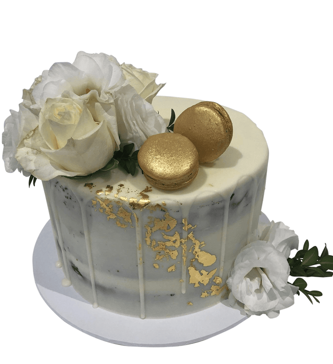 Cake Creations by Kate™ SpecialityCakes Classic White and Gold Floral Semi-Naked Speciality Cake