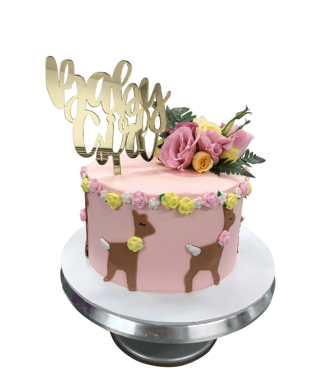 Cake Creations by Kate™ SpecialityCakes Cute Baby Deer Floral Buttercream Speciality Cake