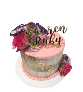 Floral Purple, Pink and Gold Semi-Naked Buttercream Speciality Cake