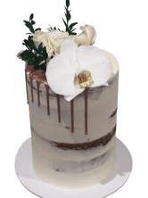 Floral Semi-Naked with Metallic Drip Double-Height Speciality Cake