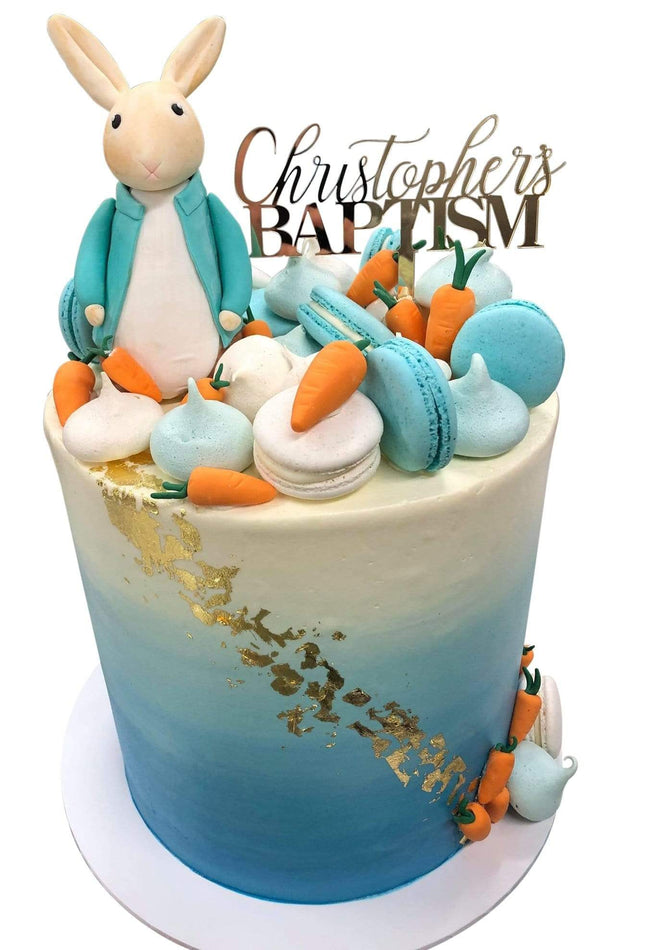 Cake Creations by Kate™ SpecialityCakes Fondant Bunny Rabbit with Carrots Ombre Buttercream Double Height Speciality Cake