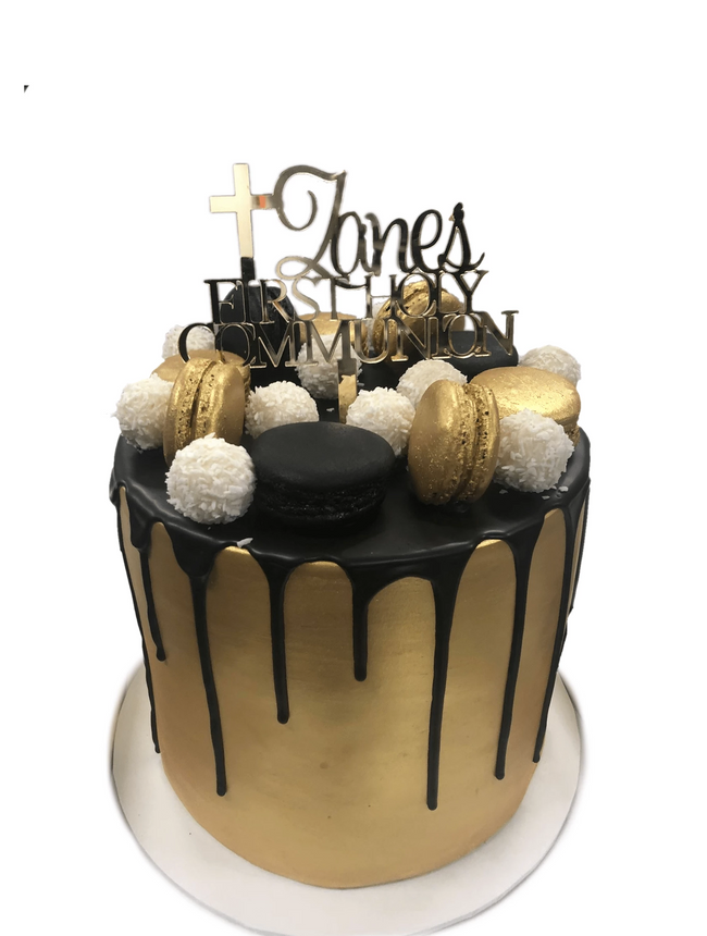 Cake Creations by Kate™ SpecialityCakes Gold and Black Fondant Extended Height Speciality Cake