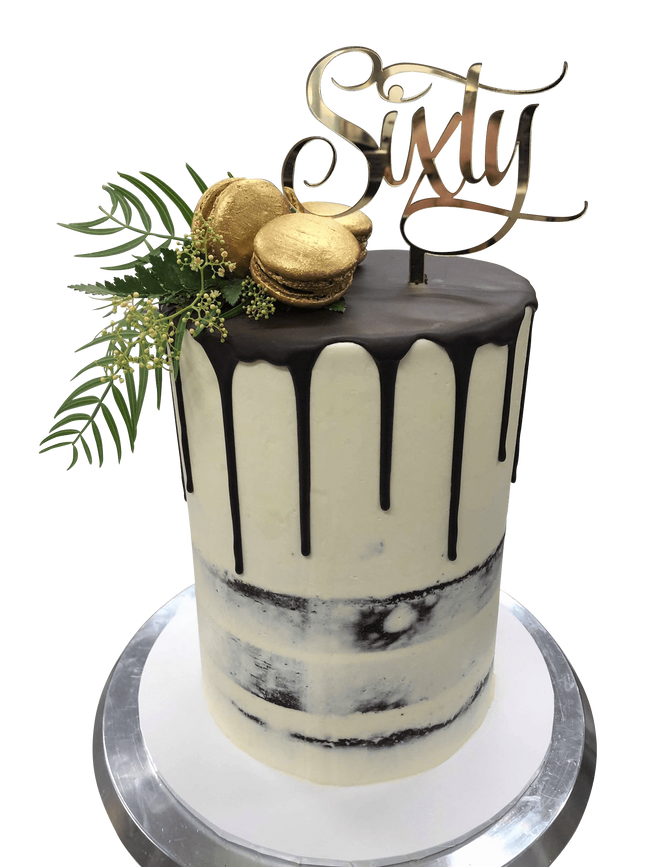 Cake Creations by Kate™ SpecialityCakes Gold and Chocolate Brown Semi-Naked Double-Height Speciality Cake