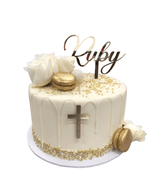 Gold and White First Communion/Eucharist Buttercream Speciality Cake
