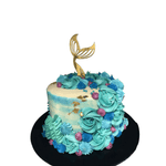 Gold Mermaid Tail and Blue Watercolour Buttercream Speciality Cake