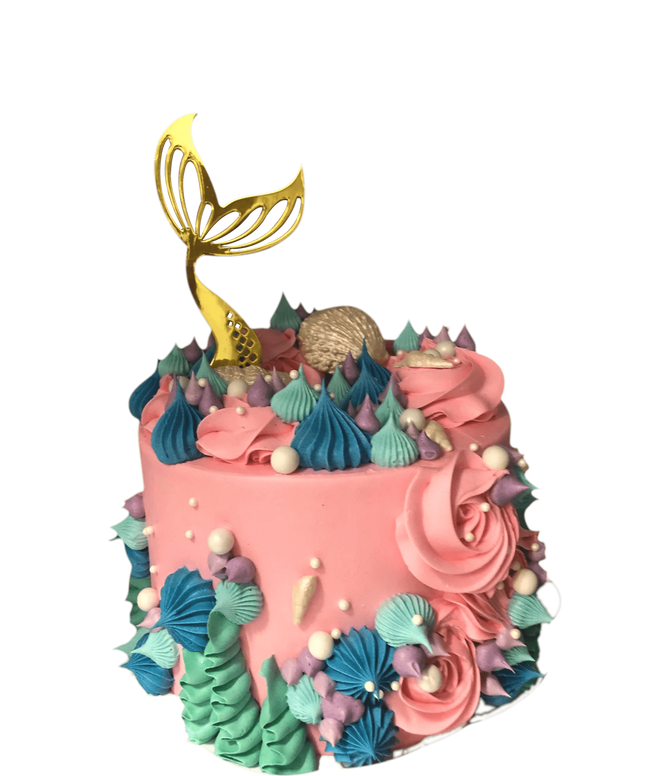 Cake Creations by Kate™ SpecialityCakes Gold Mermaid Tail and Pink Buttercream Speciality Cake