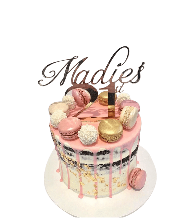 Cake Creations by Kate™ SpecialityCakes Gold, White and Pink Semi-Naked Buttercream Speciality Cake