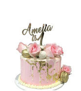 Gold, White and Pink Smooth Buttercream Floral Speciality Cake