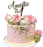 Cake Creations by Kate™ SpecialityCakes Gold, White and Pink Smooth Buttercream Floral Speciality Cake