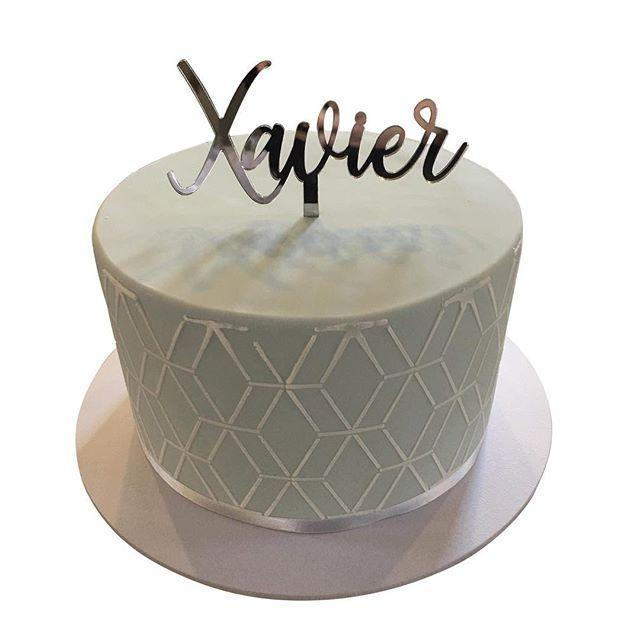 Cake Creations by Kate™ SpecialityCakes Grey and Silver Geometric Pattern Fondant Speciality Cake