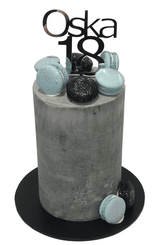 Grey, Blue and Black Concrete Buttercream Effect Double-Height Speciality Cake