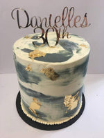 Cake Creations by Kate™ SpecialityCakes Grey/White Watercolour with Gold Flakes Double-Height Speciality Cake
