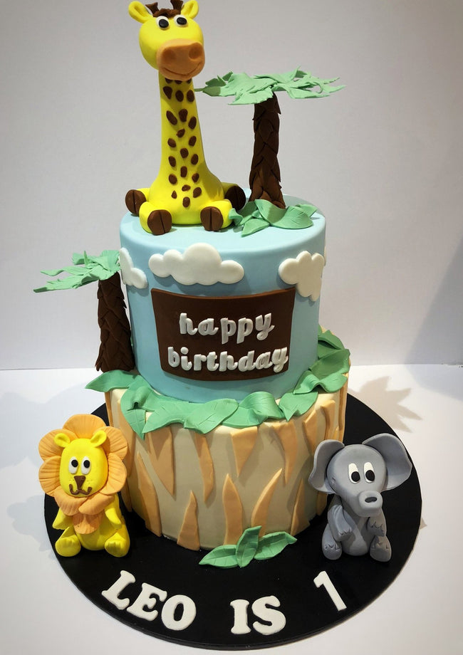 Jungle Safari Animal 2-Tier Fondant Speciality Cake - Specialitycakes