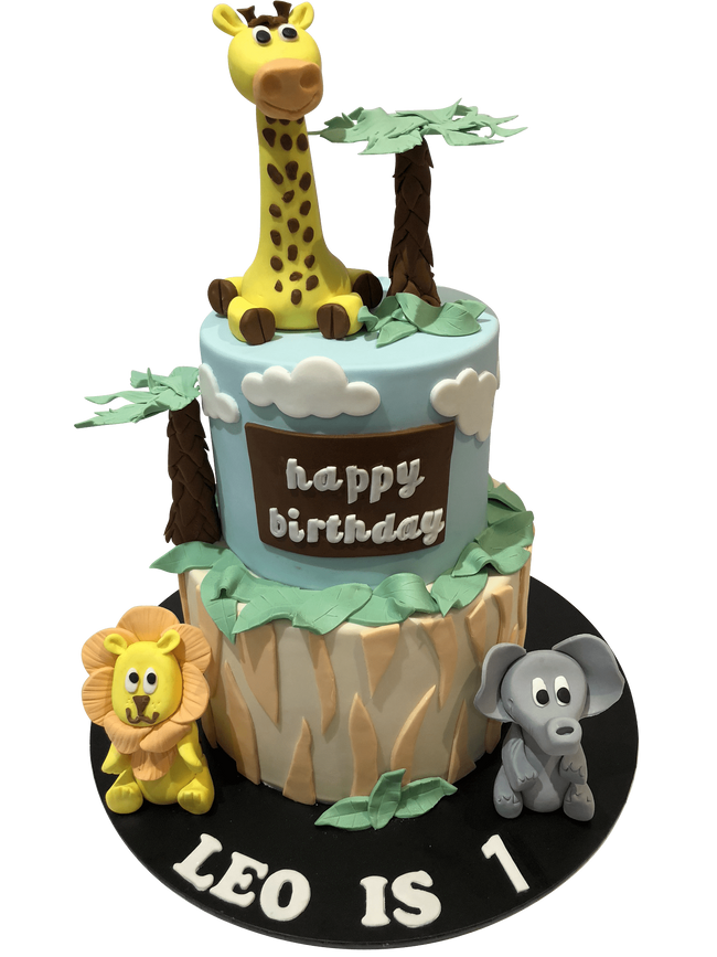 Cake Creations by Kate™ SpecialityCakes Jungle Safari Animal 2-Tier Fondant Speciality Cake