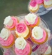 Large Cupcakes with Pink and White Handmade Roses