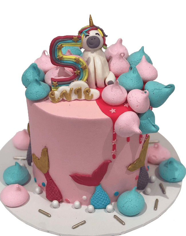 Cake Creations by Kate™ SpecialityCakes Magical Mermaids and Rainbow Unicorn Extended Height Speciality Cake