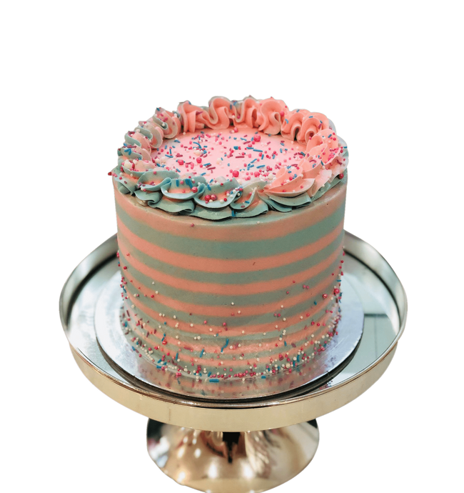 Cake Creations by Kate™ SpecialityCakes Mint Green and Pink Buttercream Stripes Speciality Cake