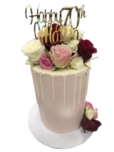 Pale Pink, White and Red Smooth Buttercream Floral Double Height Speciality Cake