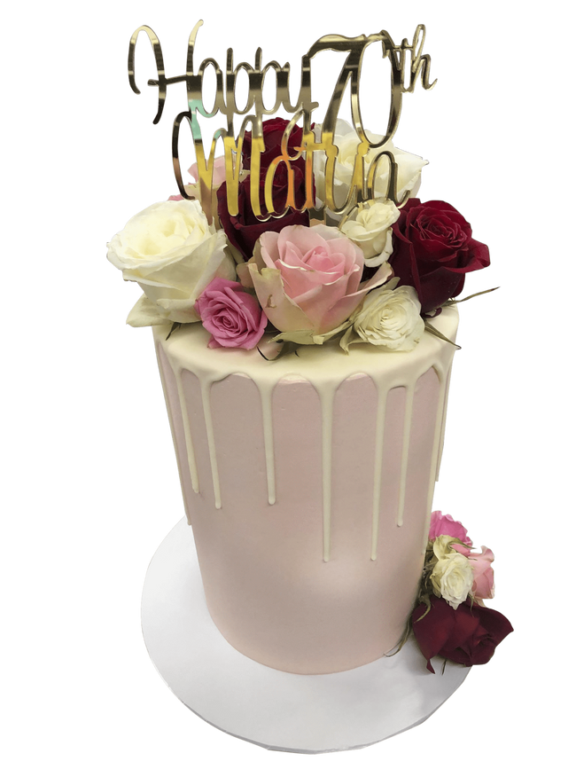 Cake Creations by Kate™ SpecialityCakes Pale Pink, White and Red Smooth Buttercream Floral Double Height Speciality Cake