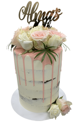 Peachy Pink Semi-Naked Buttercream Floral Double Height Speciality Cake
