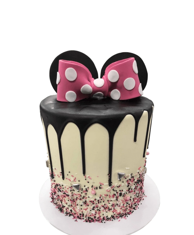 Cake Creations by Kate™ SpecialityCakes Pink 3d Fondant Bow and 3d Mouse Ears Smooth Buttercream Extended Height Speciality Cake